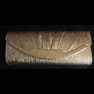 Ladies silver colored evening bag